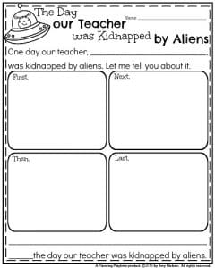Narrative Writing Prompt = The Day our Teacher was Kidnapped by Aliens.