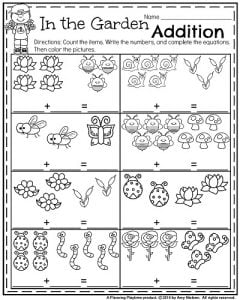 Spring Kindergarten Math Worksheets - In the Garden Addition.