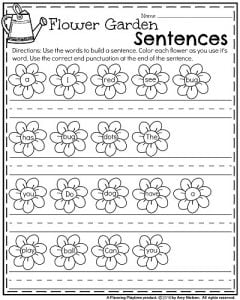 Spring Kindergarten Worksheets - Flower Garden Build a Sentence.
