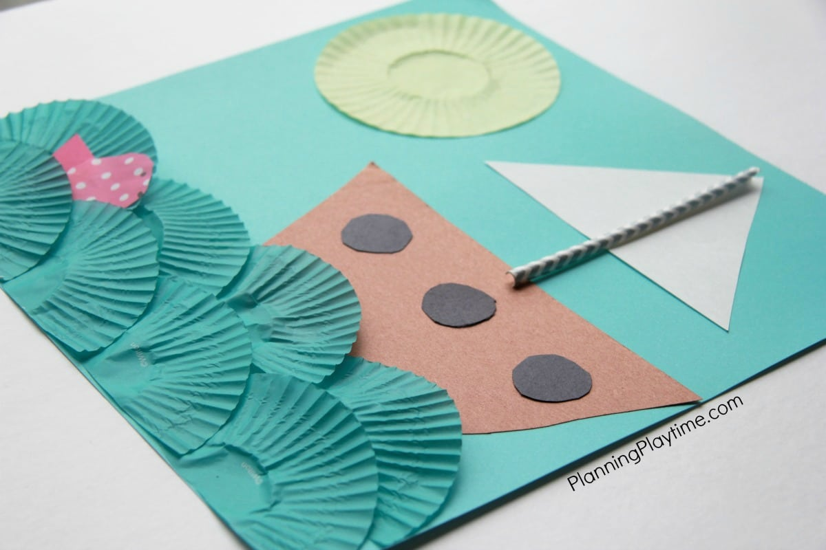 Cupcake Liner Boat Craft with fish.