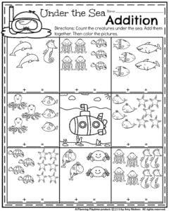 Kindergarten Addition Worksheets for Summer - Under the Sea addition.