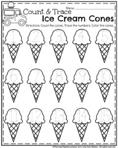 Kindergarten Number Tracing Worksheets for Summer - Count and Trace Ice Cream Cones
