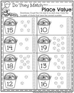 Kindergarten Place Value Worksheets - Count and Color the buckets with the right number.