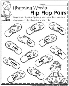 Kindergarten Rhyming Words Worksheet for Summer - Rhyming Words Flip Flop Pairs.
