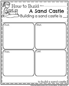 Summer Informative Writing Prompt for Kindergarten - How to Build a Sand Castle