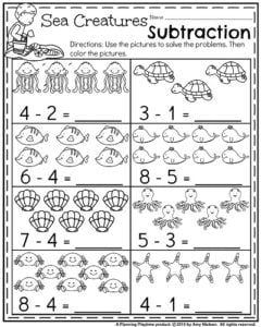 Summer Kindergarten Worksheets  Planning Playtime  Summer Kindergarten Math Worksheets  Ocean Themed Subtraction