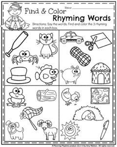 summer kindergarten worksheets  planning playtime  summer kindergarten worksheets  find and color rhyming words