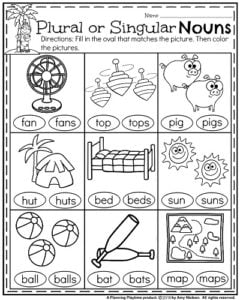 math worksheet : summer kindergarten worksheets  planning playtime : Singular And Plural Nouns Worksheets For Kindergarten