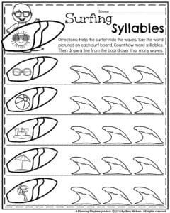 Summer Kindergarten Worksheets - Surfing Syllables. Count the syllables and draw a line to show how many waves you surfed.