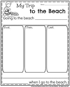 Summer Narrative Writing Prompt for Kindergarten.