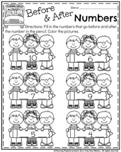 Back to School Kindergarten Math Worksheets - Before and After Numbers