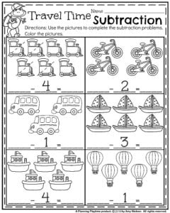 Back to School Kindergarten Math Worksheets - Travel Time Subtraction