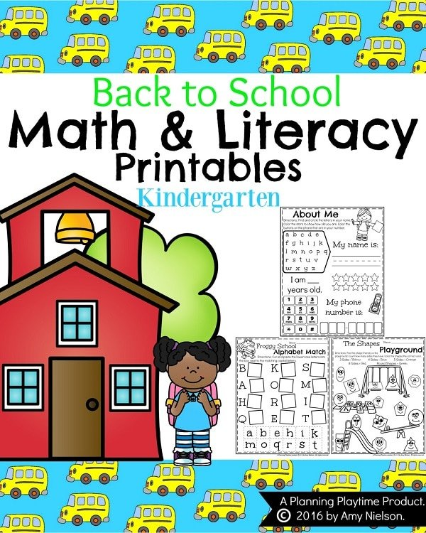 Back To School Kindergarten Worksheets Planning Playtime