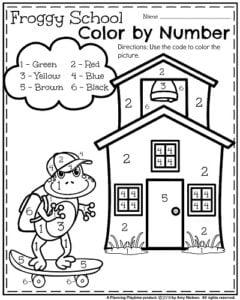 back to school kindergarten worksheets  planning playtime back to school kindergarten worksheets  color by number