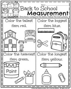 back to school kindergarten worksheets compare measurements and color - Painting Worksheets For Kindergarten