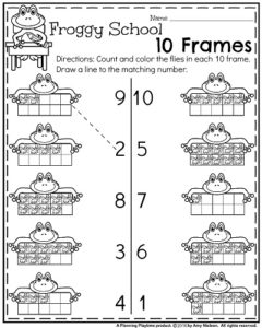 Back to School Kindergarten Worksheets - Froggy School 10 Frames