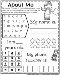 Back to School Kindergarten Worksheets - Get to Know You Name and Phone Number activity.