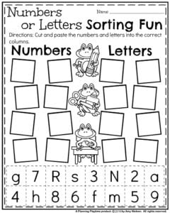 back to school kindergarten worksheets  planning playtime back to school kindergarten worksheets  numbers or letters sort