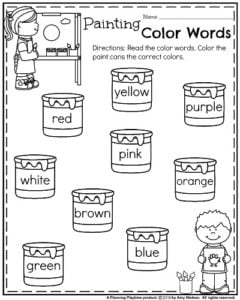back to school kindergarten worksheets painting color words - Activity Worksheet For Kindergarten