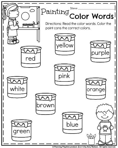 math worksheet : back to school kindergarten worksheets  planning playtime : Color Words Worksheets For Kindergarten