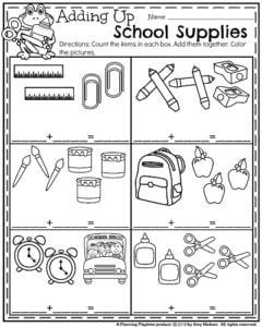 Back to School Kindergarten Worksheets - School Supplies Addition