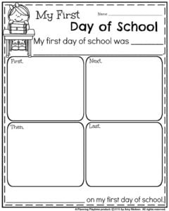 back to school kindergarten worksheets  planning playtime back to school narrative writing prompts  my first day of school
