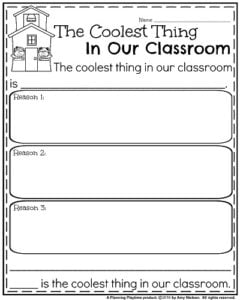 Back to School Opinion Writing Prompt - The Coolest Thing in our Classroom.