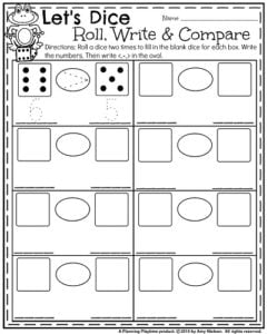 September Kindergarten Worksheets - Roll, Write and Compare Dice