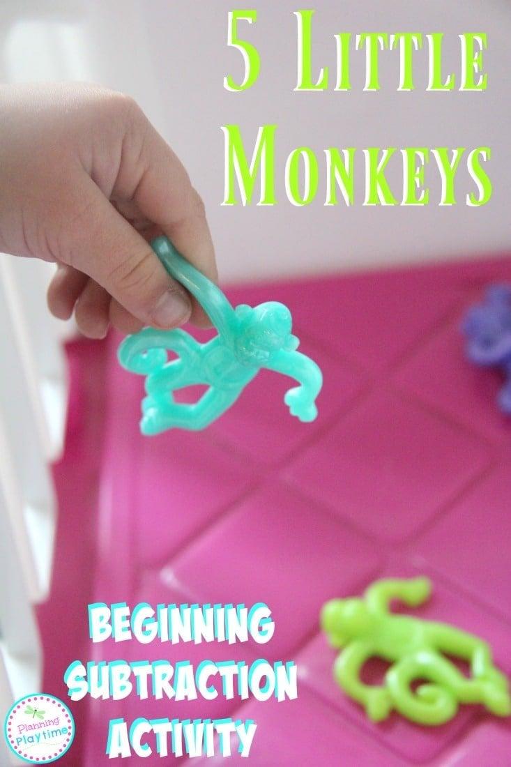 5 Little Monkeys Subtraction Activity for preschool.