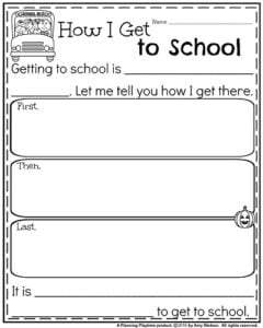 Back to School Writing Prompts - Informative How I Get to School