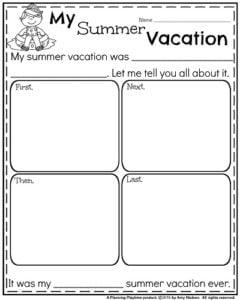 Back to School Writing Prompts - Narrative My Summer Vacation