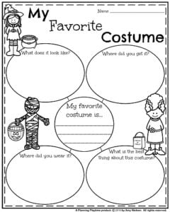 Informative Writing Prompts for Fall - My Favorite Costume.