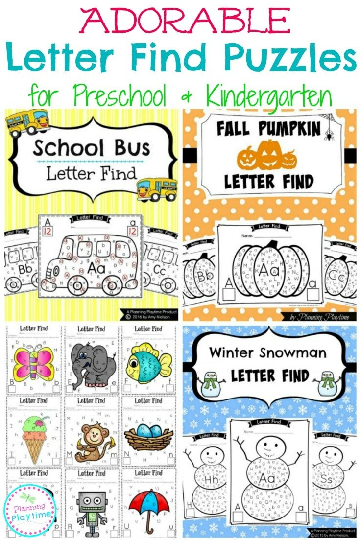 Letter Find Puzzles for Preschool and Kindergarten. Find and count the letters.