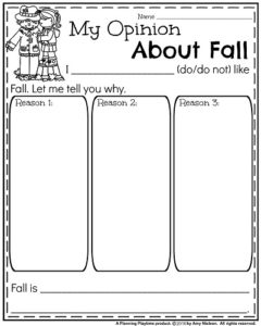 Opinion Writing Prompts for Fall - My Opinion About Fall