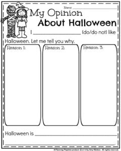 Opinion Writing Prompts for Fall - My Opinion About Halloween
