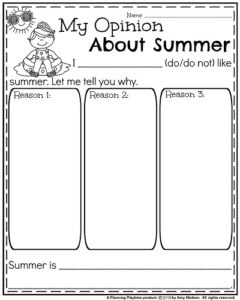 Opinion Writing Prompts for Summer - My Opinion About Summer