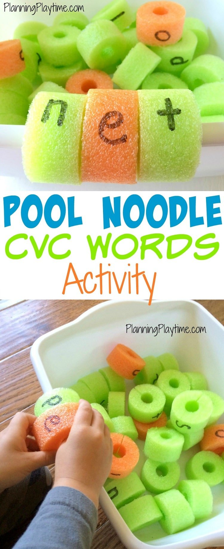 Pool Noodle CVC Words Activity - Cut a slit in the back and then clip the letters onto the edge of the tub. So fun!