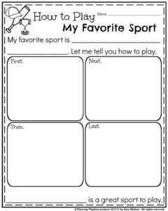 Summer Writing Prompts - How to Play My Favorite Sport