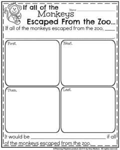 Summer Writing Prompts - Narrative If all of the Monkeys Escaped from the Zoo