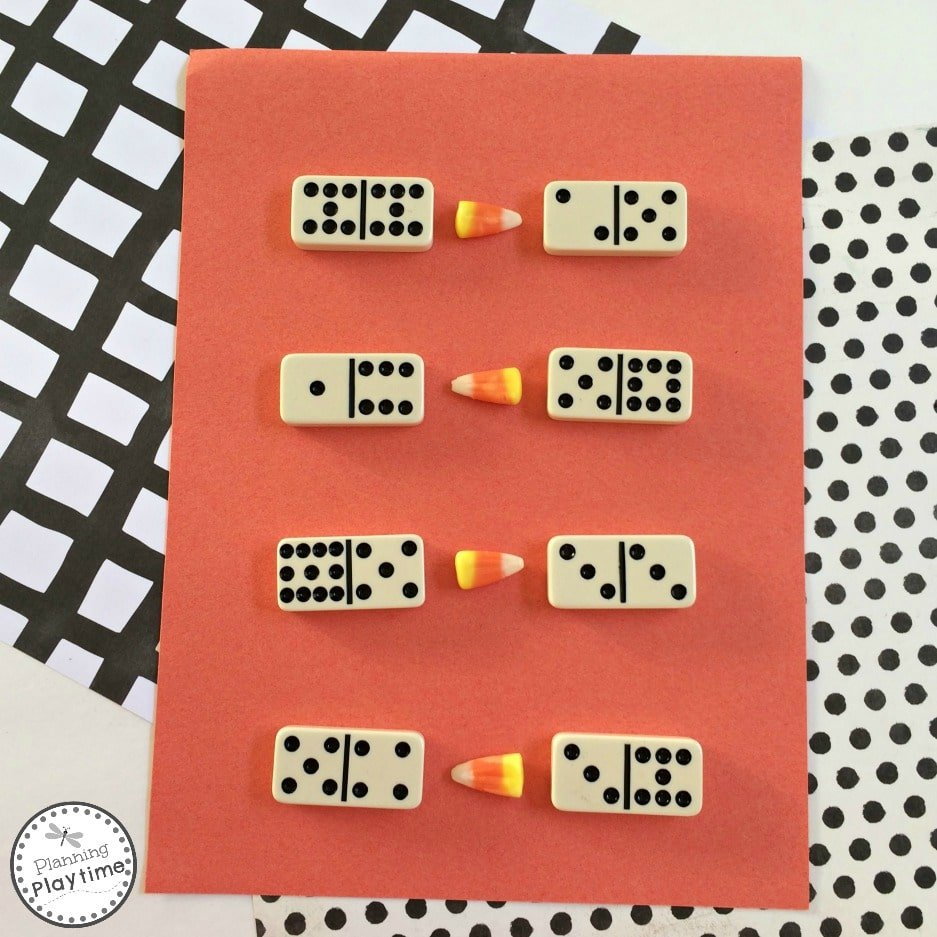 Candy Corn Math Activity - Greater than Less Than Addition with dominoes.