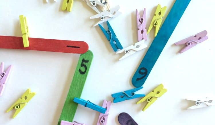 Clothespin Counting Activity for Preschoolers.