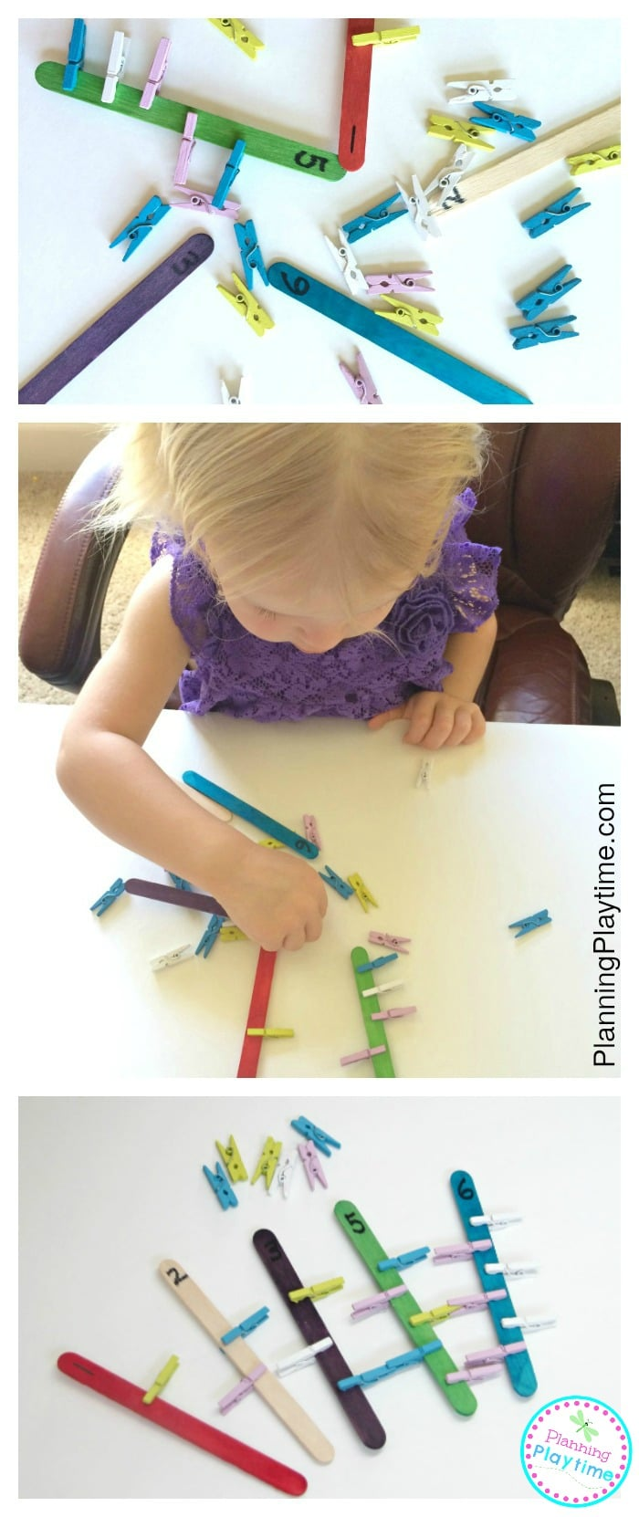 Clothespin Counting Activity for Preschoolers and Toddlers. So fun!