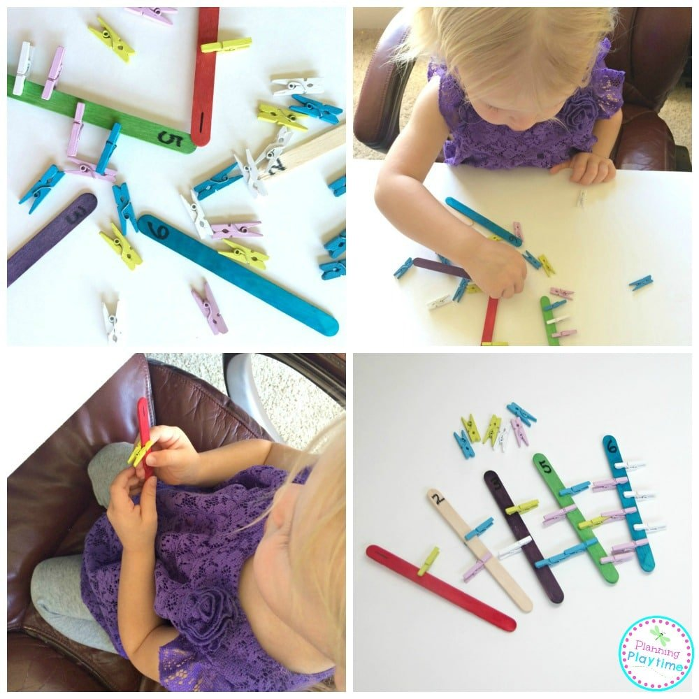 Clothespin Counting Activity for preschoolers and toddlers. Great fine motor activity too!