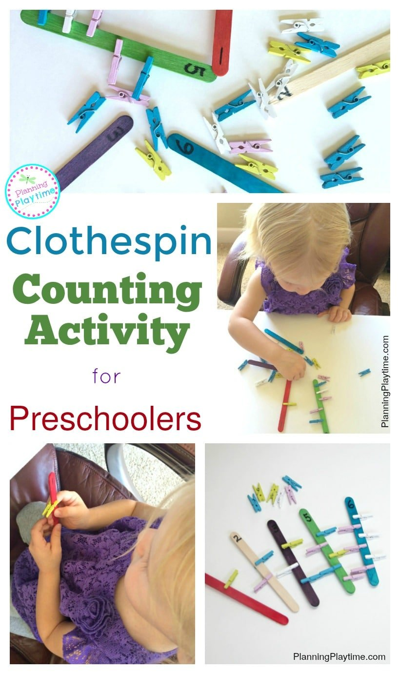 Clothespin Counting Activity for Preschoolers and Toddlers.
