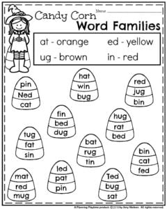 october kindergarten worksheets  planning playtime fall kindergarten worksheets  candy corn word families