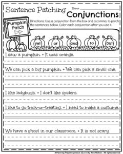 First Grade Fall Worksheets - Pumpkin Patching Conjunction Sentences.