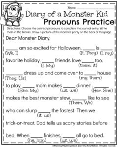 First Grade Halloween Worksheets - Diary of a Monster Kid Pronouns Practice.