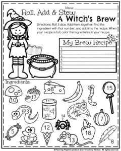 October First Grade Worksheets  Planning Playtime  First Grade Math Worksheet For Halloween  Roll Add And Stew A Witchs  Brew