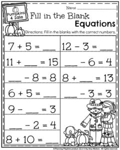 First Grade Math Worksheets for October - Fill in the Blank Equations