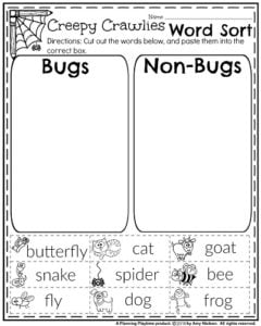 First Grade October Worksheets - Bugs or Non-bugs Word Sort.
